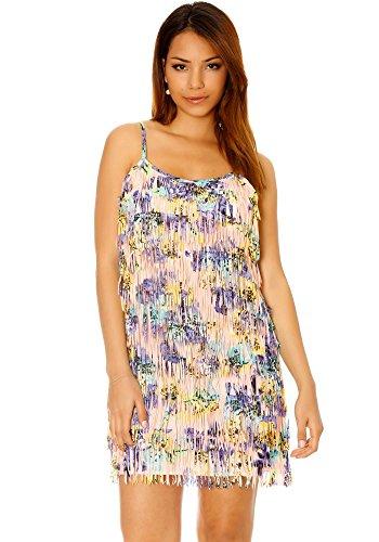 dmarkevous - Magnifique robe à frange coloré style charleston - M-L, violet