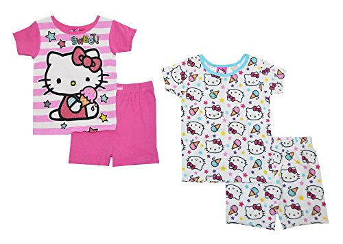 Hello Kitty Little Girls Pink & Multi Color Snug Fit 4pc Pajama Short Set (10) (Sunshine Snug Kids)