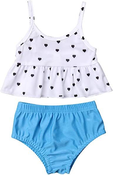 Baby Girl Bikini Polka Dots Beach Swimsuit Ruffles Bathing Suit Swimwear+Hat 2 Pcs Set