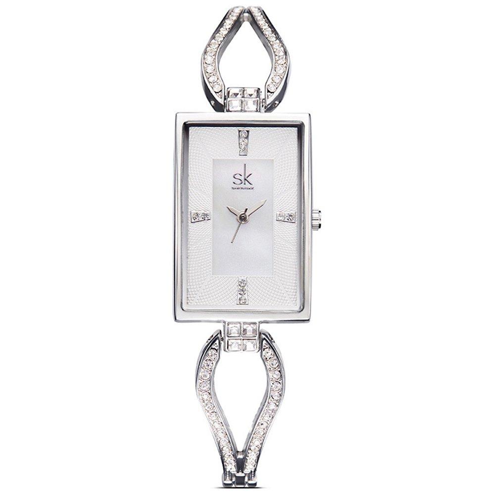 SK Women's Watches Rhinestone Bracelet Jewelry Watches Analog Display Female Wristwatches (K0021-Sliver)