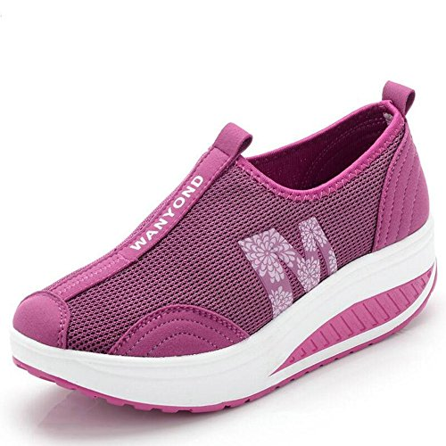 Women's Out Purple On Mljsh Sneaker Shoes Slip Work Fitness Platform Mesh 1Oxq7dw