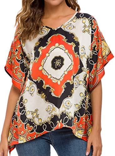 WEIYAN Women`s Loose Casual Short Sleeve Floral Chiffon Tops T-Shirt Blouse