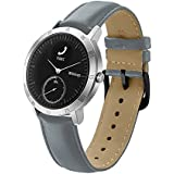 Balerion Smart watch band for Withings Steel HR 40MM, Genuine Leather Strap Replacement Watch band Bracelet for Withings Steel HR 40MM--Grey 40MM