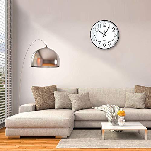 Tosnail 12 Inches Round Silent Non Ticking Quartz Wall Clock - Elegant Black Frame 3