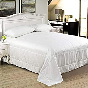 100% Mulberry Pure Silk Comforter/Duvet/Quilt, Keep Warm in Winter/Fall/Spring/Duvet, Natural Long Strand Pure Silk Filled, 100% Cotton Sateen Casing, Breathable Lightweight Highly Ventilated by Since Silk
