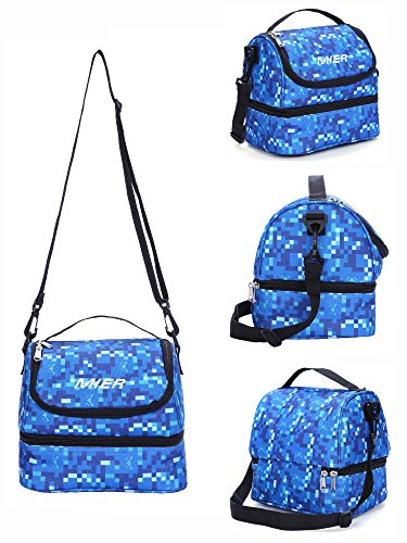 MIER Double Decker Insulated Lunch Box Soft Cooler Bag Thermal Lunch Tote with Shoulder Strap (Blue) by MIER (Image #3)