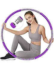 Hoelahoep voor volwassenen, fitness, afslanken, instelbaar gewicht, voor gewichtsvermindering, massage, afneembare verdikte roestvrijstalen kern, hoelahoepel voor fitness, training, buikvorming.