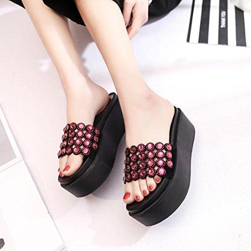 Lolittas Pantshoes Diamante Sandals for Women Ladies, Glitter Sparkly Open Toe High Heel Wedge Platform Wide Fit Size 2-7 Red