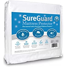 Twin Size SureGuard Mattress Protector - 100% Waterproof, Hypoallergenic - Premium Fitted Cotton Terry Cover - 10 Year Warranty