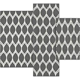 Mainstays Sheridan Ogee 3-piece Accent Rug Set (Color: Gray) 100 percent olefin