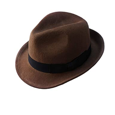 Wool Trilby Hat Felt Fedora Hats Men Women Dress Wide Brim Gangster in Brown  Black Gray c5cd312218e