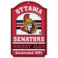 "NHL Ottawa Senators 20563014 Wood Sign, 11"" x 17"", Black"