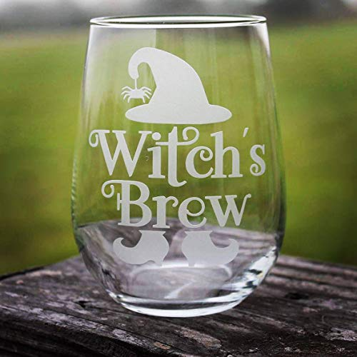 Witchs brew etched wine glass or pilsner glass halloween witch life spooky mixed drink wine all hallows -