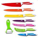 GA Homefavor Kitchen Cutlery Set Of 8 Stainless Steel Multicolor Coating Multipurpose Chef Knives Kitchen Knives And Peeler