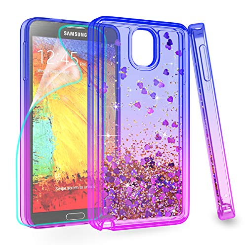 ZingCon Suit for Samsung Galaxy Note 3 Phone Case,Glitter Bling Phone Case with Quicksand Bling Adorable Shine,[HD Screen Protector] Shockproof Hybrid Hard PC Soft TPU Protective Cover-Blue/Purple