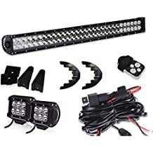 """TURBOSII 32""""180W Spot Flood Led Light Bar + 4IN Pods Cube Fog lights Auxiliary Driving Lamp On Bumper Roof Rack Grill Windshield For Truck Jeep Wrangler Commander RZR Tacoma Offroad (DOT Approved)"""