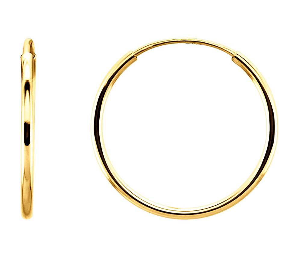 14K Gold Thin Continuous Endless Hoop Earrings (1mm Tube) (15mm - Yellow Gold)