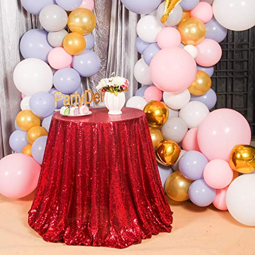 PartyDelight Sequin Tablecloth, Table Topper, Tree Skirt, Round, 48
