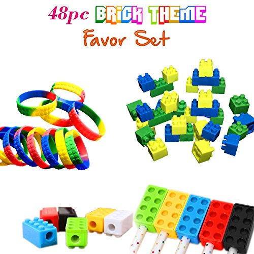 Brick Building Blocks Party Favor Novelty Toys Set, Block Bracelets, Erasers, Sharpeners, 48pcs, Great for Children Birthdays, Kid's Goody Bags, Reward Prize (Party Minecraft)