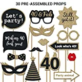 women pictures - 40th Birthday Photo Booth Props | FULLY ASSEMBLED | 40th Birthday Decorations For Men & Women | REAL GLITTER | 40th Birthday Party Supplies Gold Black | 40th Photo Booth Props Kit | NO DIY (30 Pieces)