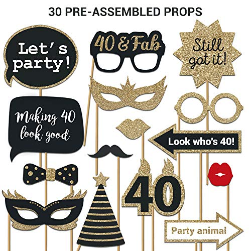 40th Birthday Photo Booth Props | FULLY ASSEMBLED | 40th Birthday Decorations For Men & Women | REAL GLITTER | 40th Birthday Party Supplies Gold Black | 40th Photo Booth Props Kit | NO DIY (30 Pieces)