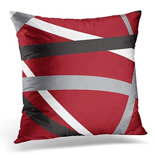 (TORASS Throw Pillow Cover Gray White Red Grey Black Stripes Retro Blue Bold Decorative Pillow Case Home Decor Square 16x16 Inches Pillowcase)