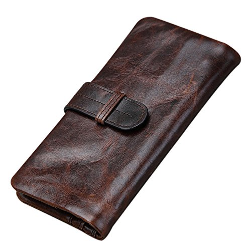 Price comparison product image Mens Genuine Leather long bifold wallet Vintage style Money Purse