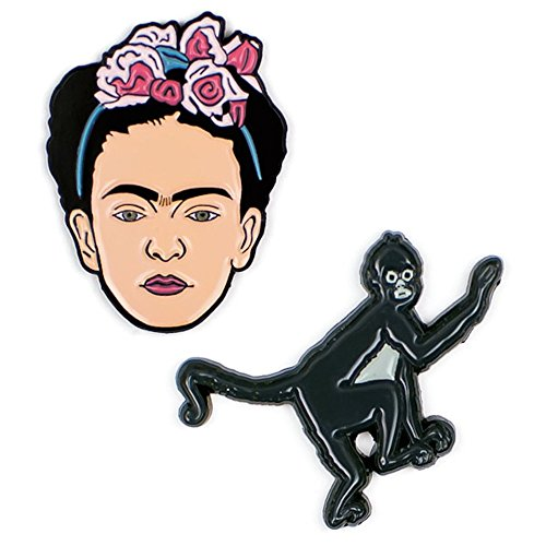 The Unemployed Philosophers Guild Frida and Monkey Enamel Pin Set - 2 Unique Colored Metal Lapel Pins