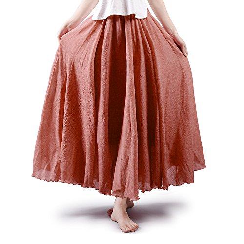 OCHENTA Womens Bohemian Elastic Waist Cotton Floor Length Skirt, Flowing Maxi Big Hem Rust Red 95CM