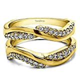 Yellow Plated Sterling Silver Double Row Knott Ring Guard Enhancer with Diamonds (G-H,I2-I3) (0.43 ct. tw.)