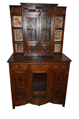 Mogul Interior Antique Authentic Wall Cabinet Drawer Chest Indian Furniture Teak ()