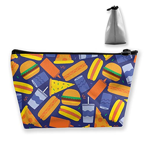 Jingclor Portable Trapezoidal Storage Pouch Fast Food Hamburger Pizza Art Cosmetic Bags Travel Toiletry Zipper Pencil Holders