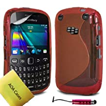 AOA Cases® S-Series Tpu Case Back Cover For Blackberry Curve 9320 9220 + Mini Stylus + Screen protector (Red)