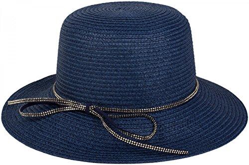 styleBREAKER Strohhut mit Zierband aus Strasssteinen und Schleife, Sonnenhut, Hut, Damen 04025011, Farbe:Dunkelblau