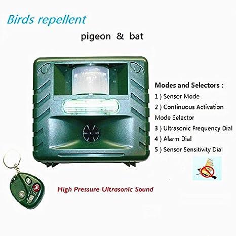 Minutos ultrasónico Ahuyentador de Animal Pest Control de aves, con detector de movimiento, luz estroboscópica y alarma de intrusos, Sonic acoso y Predator ...