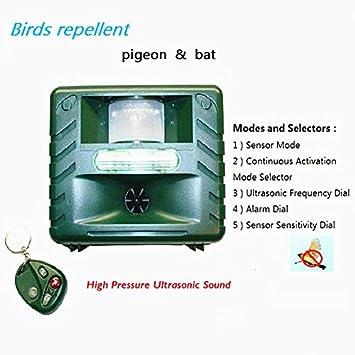 Minutos ultrasónico Ahuyentador de Animal Pest Control de aves, con detector de movimiento, luz