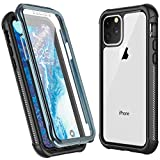 Temdan iPhone 11 Pro Max Case, Built in Screen Protector Protect Bumper Case Support Wireless Charging, Heavy Duty Rugged Dropproof Cases for iPhone 11 Pro Max 6.5 inch 2019-(Black/Clear)