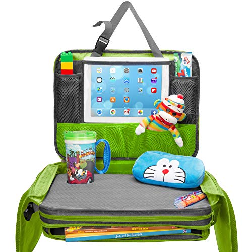 Kids Travel Tray - Detachable Top 4-In-1 Car Organizer w Tablet Holder - Play Snack Lap Table - On The Go Activity Desk for Children Toddlers - Backseat Storage Accessories - Dry Erase Board w Markers