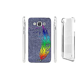 FUNDA CARCASA EFECTO JEANS FEATHER RAINBOW PARA SAMSUNG GALAXY A3 SM-A300F
