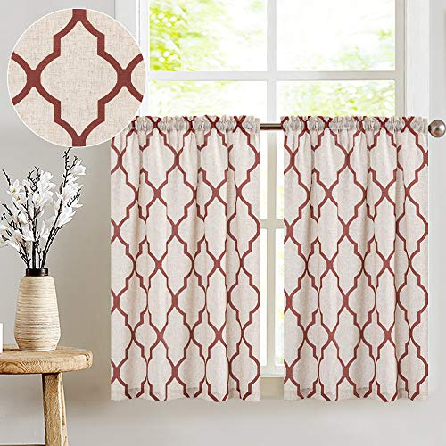 "jinchan Moroccan Print Tier Curtains for Kitchen Modern Cafe Half Window Panels Flax Linen Blend Textured Curtain Set 1 Pair 26"" W x 45"" L Terra Red"