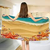 Chaneyhouse Seashells,Bath Towel,Seashells on The Beach Style Coastal Fun Relaxation Waves Shoreline,Bathroom Towels,Sand Brown Orange Teal Size: W 31.5'' x L 63''