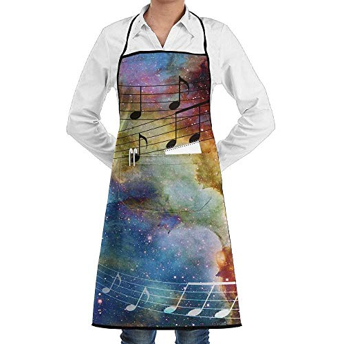 shower curtain doormat Novelty Abstract Galaxy Music Note Kitchen Chef Apron with Big Pockets - Chef Apron for Cooking,Baking,Crafting,Gardening and BBQ
