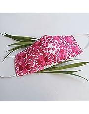 Increíble y elegante cubrebocas bordado artesanal | Tricapa | Lavables | Hechos a mano | Técnica Yucateca | Blanco con Rosa