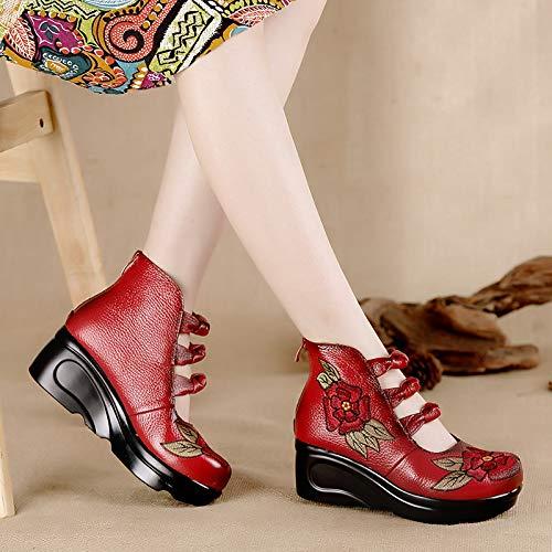 zeppa zeppa bottoni 40 Scarpe Scarpe Scarpe Rosso e da con ricamate zeppa EU Rosso Colore con con ZHRUI con plateau bottoni cinesi donna Scarpe cinesi Dimensione EZCqC