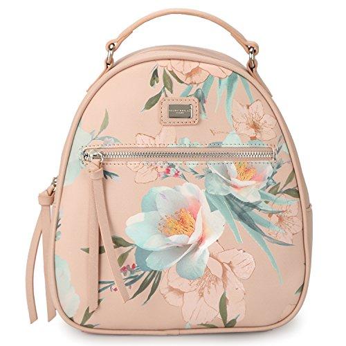 DAVIDJONES Woman's Synthetic Leather Mini Shoulder Bag Backpack Purse -- Pink (Leather Lined Mini Bag)