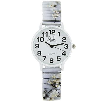 Jolie Reloj Mujer Acero Blanco Estampado Flor Gorgio: Amazon.es ...