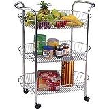 St@llion Kitchen Bathroom Rolling Shelf Cart Kitchen Vegetable Trolley with 3 Baskets Chrome