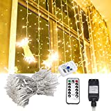 AUXMART LED Curtain Lights with Remote Control Window Icicle Light 300 LED 8 Modes Fairy Lights for Home Outdoor Indoor Wedding Party Holiday Birthday Christmas Decorations (Warm White)