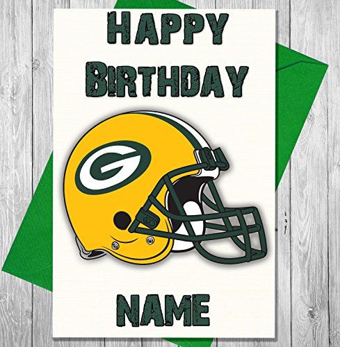 AKGifts American Football Green Bay Packers - Personalised Birthday Card - Any name and age printed on the front (7 - 10 BUSINESS DAYS DELIVERY FROM UK) (Card And Gift Delivery)
