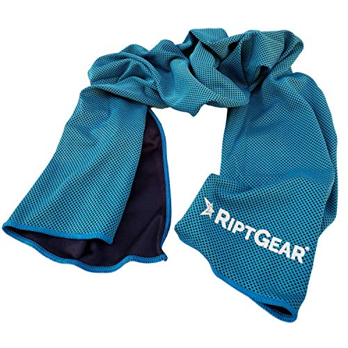 RiptGear Instant Cooling Towel - Ultra Thin Lightweight Design for Fitness and Exercise, Gym, Yoga, Sports, Pilates, Travel, Running and Hiking - Light Blue